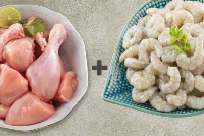 Combo Pack (500g of Premium Tender & Antibiotic-residue-free Chicken Skinless Curry Cut + 400g Cleaned Prawns / Jhinga / Chemmin PD)