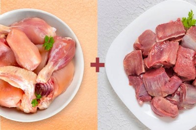 Combo Pack (1kg of Premium Tender & Antibiotic-residue-free Chicken Skinless Curry Cut + 500g Supreme Goat / ಮೇಕೆ Curry Cut )