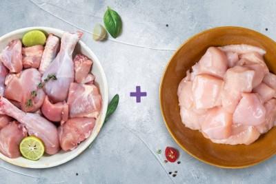 Combo Pack (1kg Premium Tender & Antibiotic-residue-free Chicken Skinless Curry Cut + 500g Premium Antibiotic-residue-free Boneless Chicken Cubes)