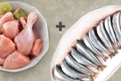 Combo Pack (1kg of Premium Tender & Antibiotic-free Chicken Skinless Curry Cut + 500g Sardine/Mathi Whole Cleaned)