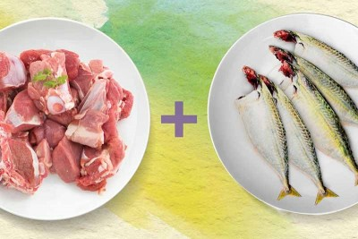 Combo Pack (500g of Premium Goat / ಮೇಕೆ Curry Cut + 500g Mackerel / Ayala / Bangda / ಬಂಗಡೆ Whole Cleaned)