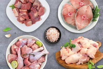 Jumbo Combo(1kg Premium Antibiotic-residue-free Chicken Skinless Curry Cut + 1kg Goat / ಮೇಕೆ Curry Cut + 800g Kuttanadan Duck Curry Cut + 500g Seer/Neymeen Steaks)