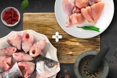 Combo Pack (1kg Rohu Curry / ರೋಹು Cut + 1kg Premium Tender & Antibiotic-residue-free Chicken Skinless Curry Cut)