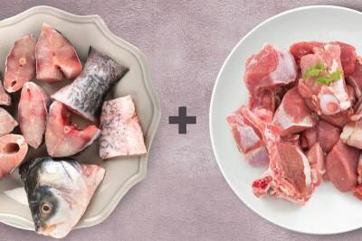 Combo Pack (1kg Rohu / ರೋಹು Curry Cut + 0.5kg Premium Goat / ಮೇಕೆ Curry Cut)