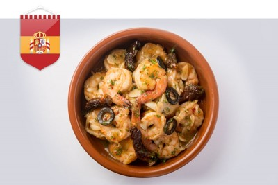 Gambas Con Tomates Secos Y Aceituna / Prawns Cooked In Sun Dried Tomato And Olives (Spain)
