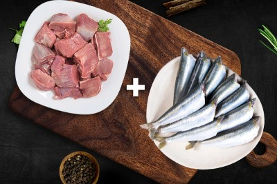 Combo Pack (500g of Premium Goat / ಮೇಕೆ Curry Cut + 500g Sardine / Mathi / ಭೂತಾಯಿ Whole Cleaned)