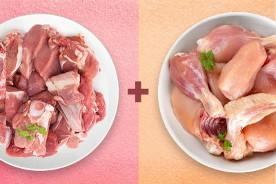 Combo Pack (500g Premium Tender & Antibiotic-residue-free Chicken Skinless Curry Cut + 500g Premium Goat Curry Cut)