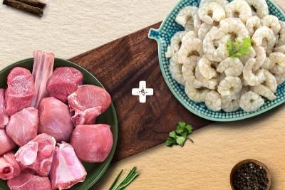 Combo Pack (500g Premium Goat Curry Cut + 250g Venami Prawns / Chemmin / Jhinga Peeled & Deveined PD)