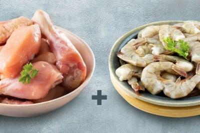 Combo Pack (1kg of Premium Tender & Antibiotic-residue-free Chicken Skinless Curry Cut + 0.5kg Medium Venami Prawns / Jhinga / Chemmin - Tail On)