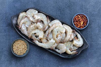 Indian Prawns / Venami / Vannamei / Jhinga / Chemmin (40+ Count/kg) - Headless (No Head, Rest with shell, tail)
