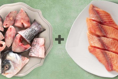 Combo (Fresh Rohu of 0.9-1kg Cut In Pieces + 500g Fresh Baasa Boneless Fillets)