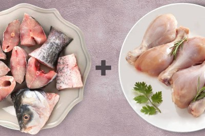 Combo Pack (1kg Premium Tender & Antibiotic-residue-free Chicken Drumsticks + 500g Rohu / ರೋಹು Curry Cut with Head pieces)