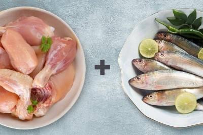 Combo Pack (1.5kg of Premium Tender & Antibiotic-free Chicken Skinless Curry Cut + 0.5kg Sardine/Mathi/Tarli  Whole Cleaned)