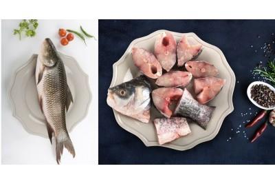 Fresh Rohu / Ru / ರೋಹು of 1-1.1Kg Cut in Pieces(Bengali Curry Cut) 1 Fish/Pack