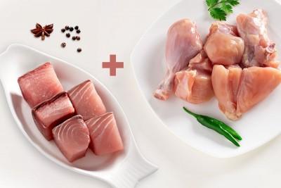 Combo Pack (1kg SeerFish / Neymeen Curry Cut  + 0.5kg of Premium Tender & Antibiotic-residue-free Chicken Skinless Curry Cut)