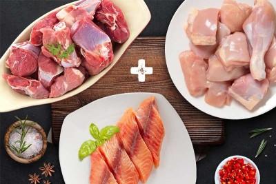 Triple Combo Pack (1kg Premium Tender & Antibiotic-residue-free Chicken Skinless Curry Cut + 500g Premium Goat / ಮೇಕೆ Curry Cut + 500g Boneless Baasa Fillets)