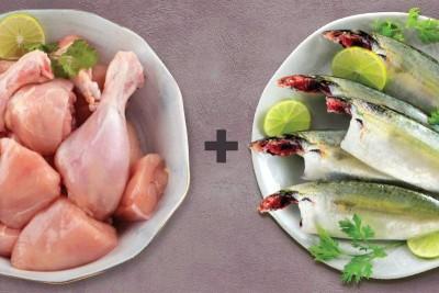 Combo Pack (800g Premium Tender & Antibiotic-free Chicken Skinless Curry Cut + 1kg Mackerel / Ayala / Bangda Cleaned)