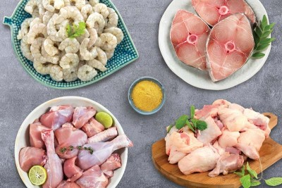 Combo(1kg Premium Antibiotic-residue-free Chicken Skinless Curry Cut + 800g Kuttanadan Duck Curry Cut + 400g Neymeen Steaks + 400g Cleaned Small Wild-Caught Prawns)