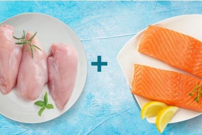 Combo Pack (500g Atlantic Salmon Fillet + 400g of Premium Tender & Antibiotic-Free Chicken Breast Fillet